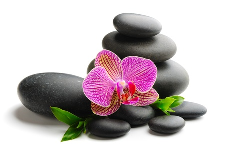 stack stones: zen stones and  orchid isolated on white Stock Photo