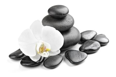 piedras zen: Zen piedras y orqu�dea aislados en blanco