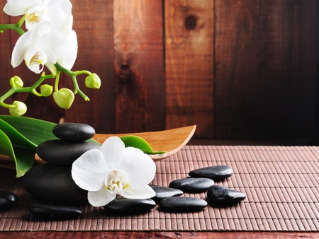 terapia de grupo: Orqu�dea y piedras de zen de concepto de spa