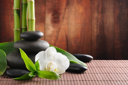 spa concept zen basalt stones and  orchid photo