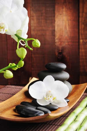 spa concept zen stones and  orchid photo