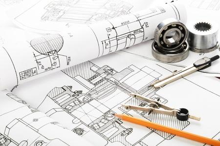ingenieria industrial: Detalle de dibujo y herramientas de dibujo Foto de archivo