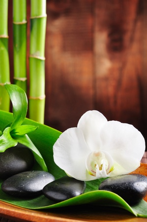 massage symbol: spa concept zen stones and  orchid