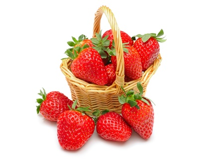 Beautiful strawberries isolated on white photo