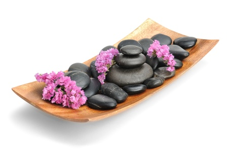 zen stones and  flowers isolated on white photo