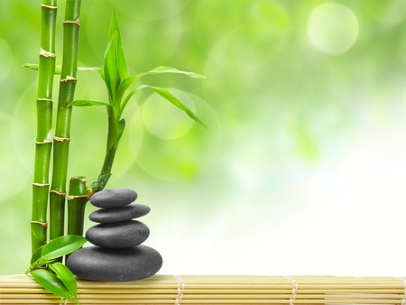 zen basalt stones and bamboo Stock Photo - 9408456
