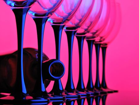 several: abstract wine glass pink and blue color
