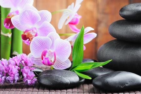 bambu: concepto de spa con piedras de zen y orquídea
