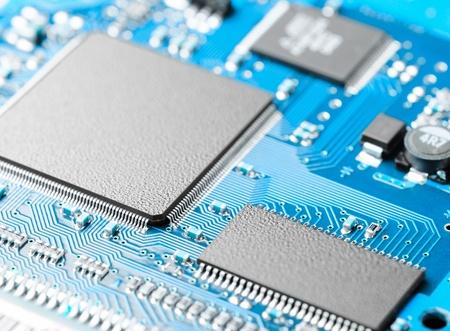 componentes: primer plano de la placa de circuito electr�nico con procesador