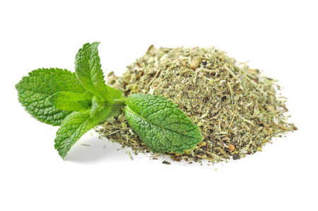 herbal tea and mint leaves on white photo
