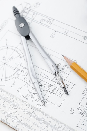industrial drawing detail and several drawing   tools Stock Photo - 9853871