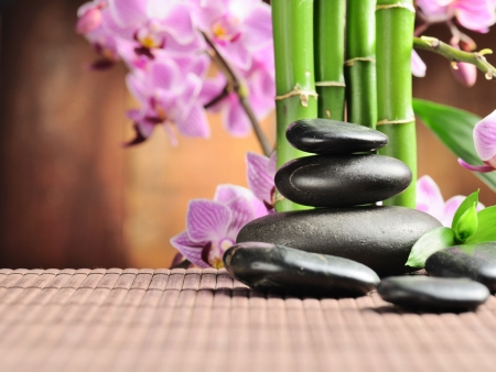 aromatherapy: spa concept with zen stones and  orchid
