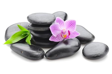 zen steine: Spa-Konzept mit Zen Stones und Blume Lizenzfreie Bilder