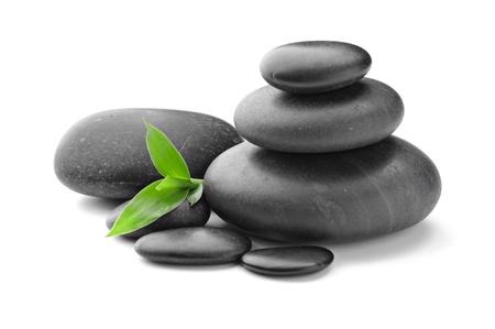 zen Basaltsteinen und Blätter