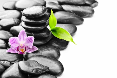 stack stone: spa concept with zen stones and flower Stock Photo