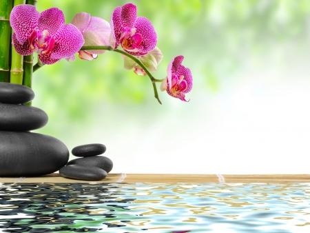 zen steine: Zen Basaltsteinen und Bambus mit Tau