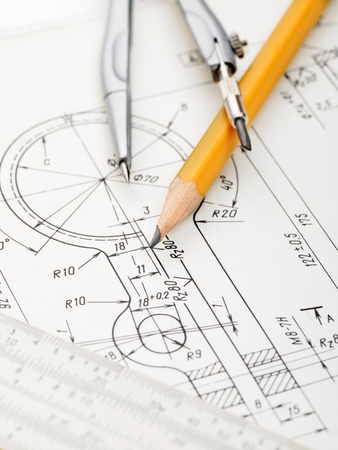 indastrial drawing detail and several drawing   tools Stock Photo - 10099155