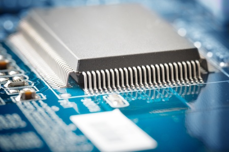 microprocessors: close-up of electronic circuit board with processor