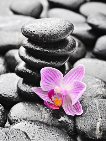 stack stone: zen stones and pink orchid in the water Stock Photo