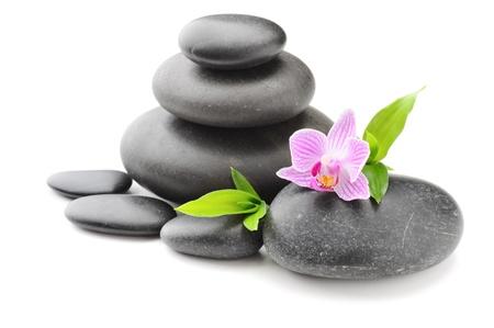 zen stone: spa concept with zen stones and flower Stock Photo
