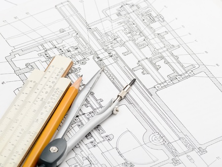 projecting: indastrial drawing detail and several drawing   tools Stock Photo