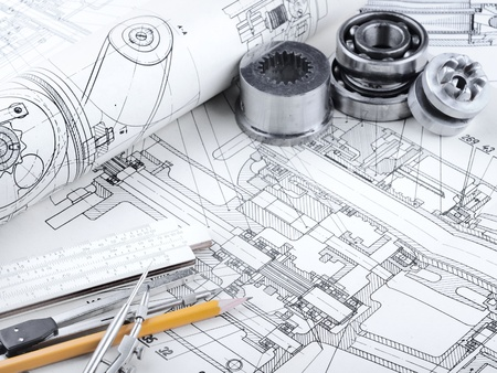 engineering drawing: indastrial drawing detail and several drawing   tools Stock Photo