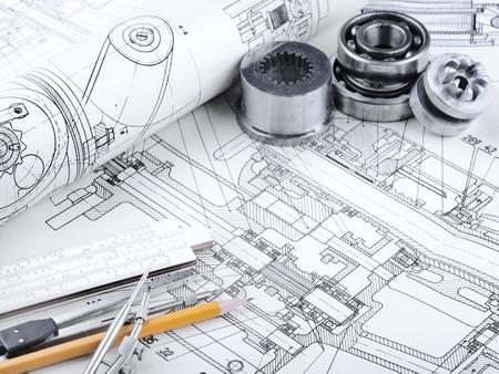 drafting tools: indastrial drawing detail and several drawing   tools Stock Photo