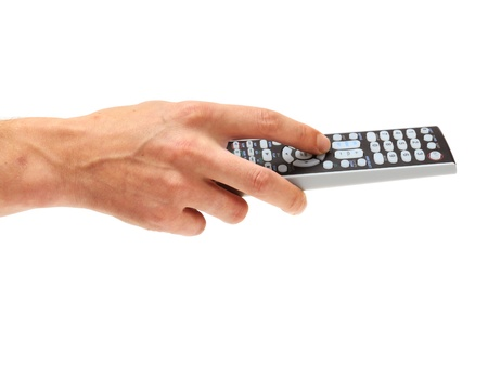 remote control: Hand holding tv remote control on the white Stock Photo