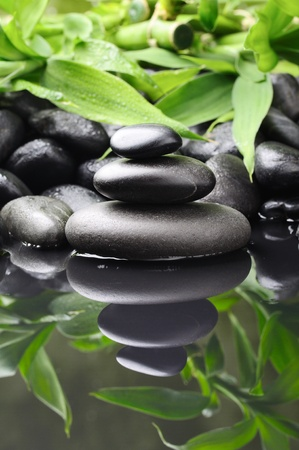 spa concept with zen stones and bamboo photo