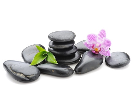 stack stone: spa concept with zen stones and orchid