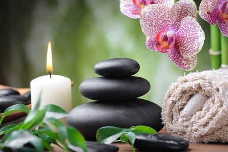 zen basalt stones and orchid on the wood Stock Photo - 10571022