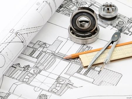 dibujo tecnico: detalles de dibujo Indastrial y varias herramientas de dibujo