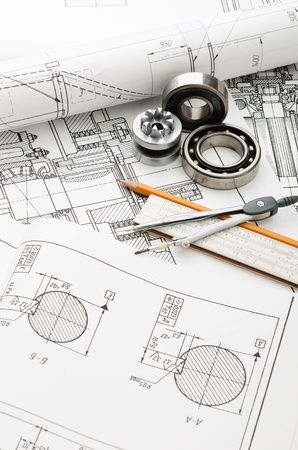 engineering design: indastrial drawing detail and several drawing   tools Stock Photo