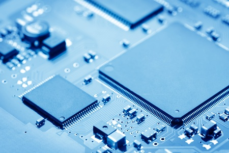 microchip: close-up of electronic circuit board with processor