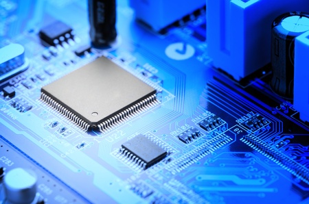 close-up of electronic circuit board with processor photo