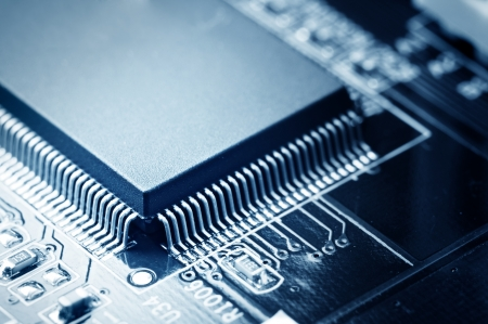 processors: close-up of electronic circuit board with processor