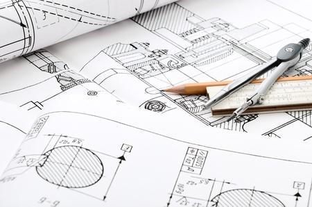 dibujo tecnico: detalle de dibujo industrial y varias herramientas de dibujo