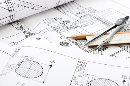 industrial design: industrial drawing detail and several drawing   tools Stock Photo