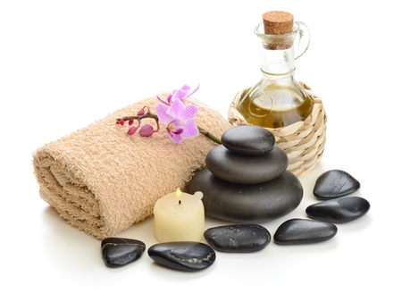 candles spa: zen basalt stones and orchid on the white Stock Photo