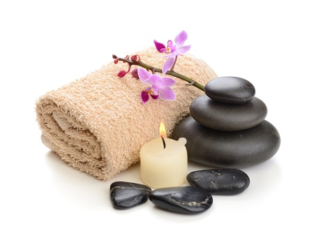 stones with flower: zen basalt stones and orchid on the white Stock Photo