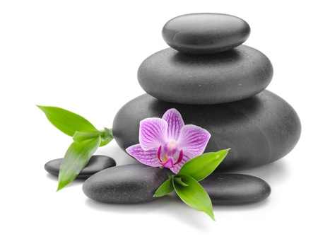 black pebbles: zen basalt stones and orchid on the white Stock Photo