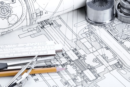 engineering tools: industrial drawing detail and several drawing   tools Stock Photo