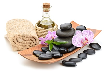 spa towels: zen basalt stones and sea salt on the white