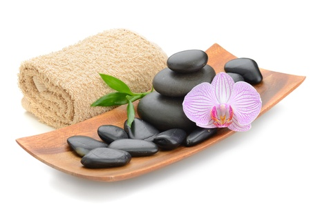 zen basalt stones and sea salt on the white Stock Photo - 11985879