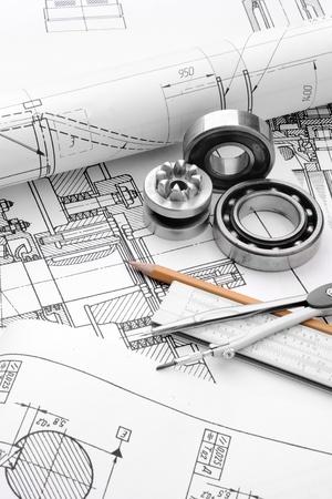 ingenieria industrial: detalle de dibujo industrial y varias herramientas de dibujo