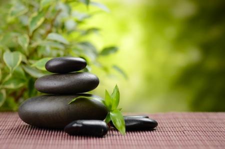 Zen piedras de basalto y de bambú en el bosque