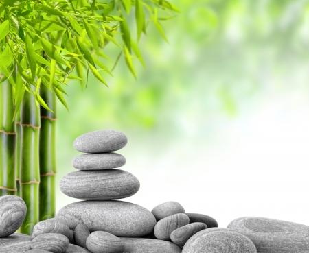 pebbles: zen basalt stones and bamboo
