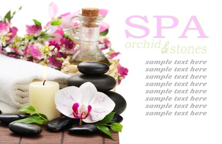 zen basalt stones and orchid on the white photo