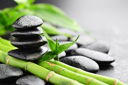 pedras de basalto zen e bambu com orvalho Banco de Imagens