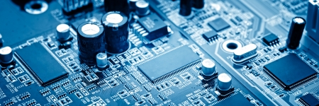 motherboard: close-up of electronic circuit board with processor